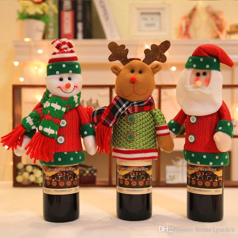 3PCS Noël Décoration Fournitures Ensembles de bouteilles de Noël Bouteille de vin Couverture de Noël vin Couverture