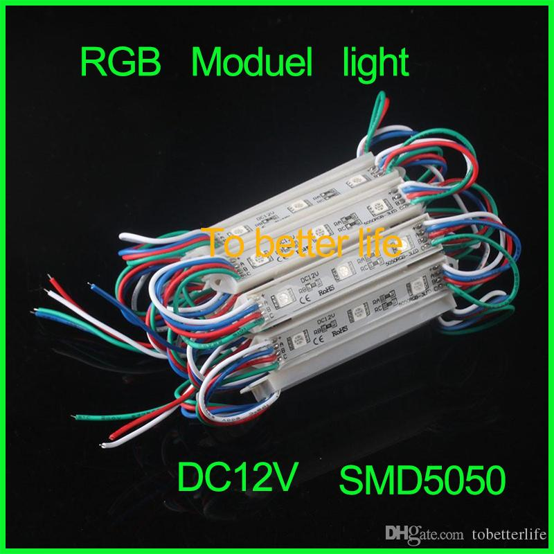 0.72W 3 Leds 5050 Led Modules RGB Led Pixel Modules Waterproof 12V Backlights For Channer Letter W WW R G B Y
