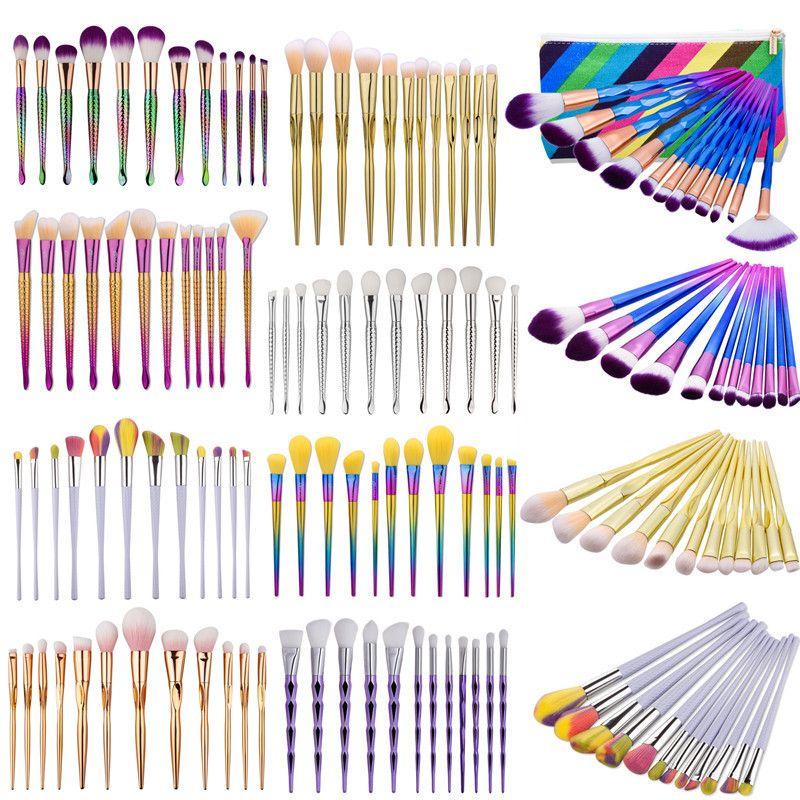 Professional Make up Brushes Kit 12 pcs Mermaid Eye shadow Powder Foundation Brush Cosmetic Rainbow Multipurpose Makeup Brushes Sets