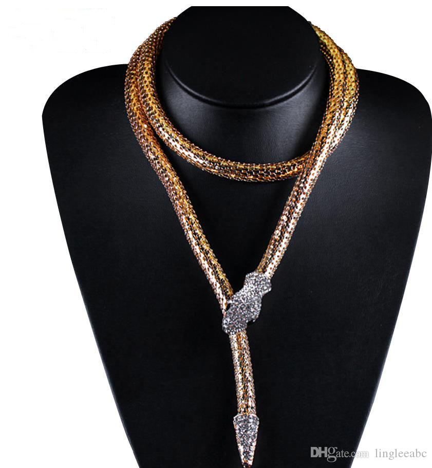 Overdreven goud zilveren kettingen slang ketting lange kettingen hangers mode-sieraden dier accessoires