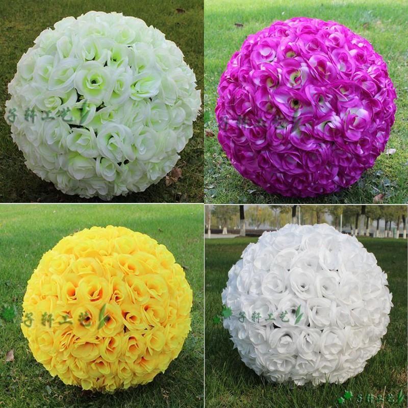 Wedding Decorations 30cm 12 Inch Artificial Rose Silk Flower Kissing Balls Pomander Rose Wedding Flowers Bouquet Hanging Balls Party Decor