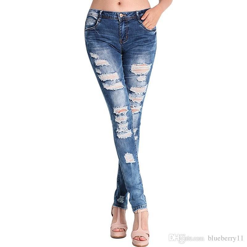 Moda Sonbahar İlkbahar Pantolon Kot Kadınlar Delik Stretch Pamuk Kot Skinny Jeans Plus Size S-3XL Ripped