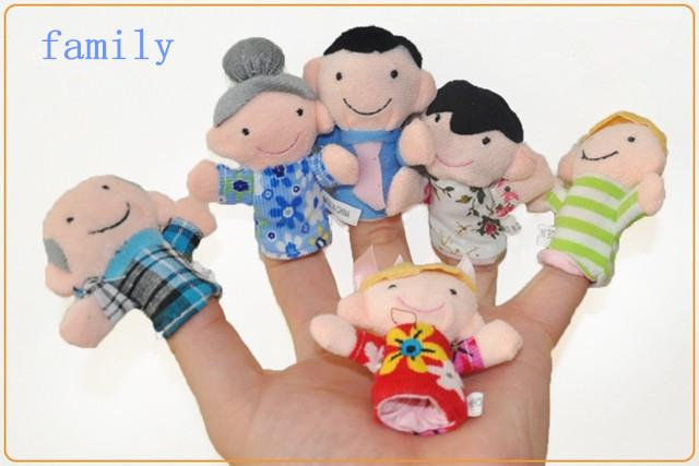 family Finger Puppets plush toys Puppets six people family grandparents parents children toys with different chlothes baby Finger dolls