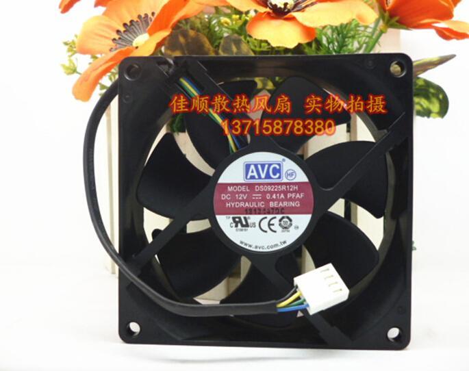 AVC 9CM 90 * 90 * 25 DS09225R12H 12V 0.41A 4 سلك هيكل درجة الحرارة وحدة المعالجة المركزية مروحة