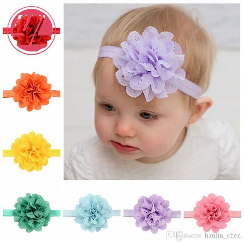 Büyük Çiçekler Bebek Bantlar Moda Dantel Hollow Dalga Saç Bandı Çocuk Elastik Şapkalar 16 Renkler 579