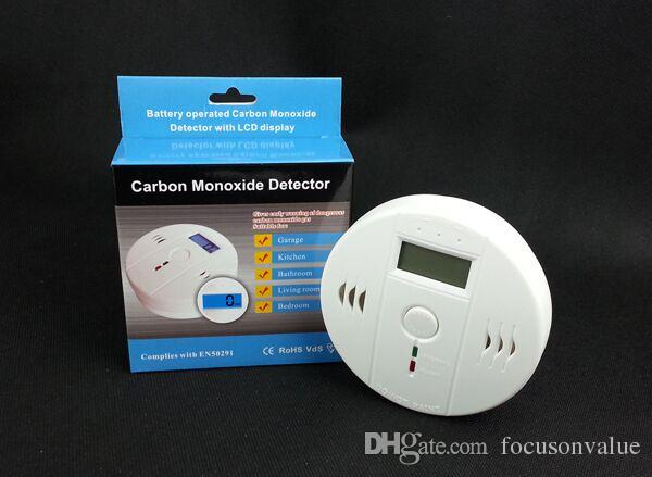 Co أول أكسيد الكربون كاشف lcd الخلفية مراقب إنذار التسمم الغاز الاستشعار تحذير كاشف الدخان تستر للمنزل securtiy في مربع التجزئة