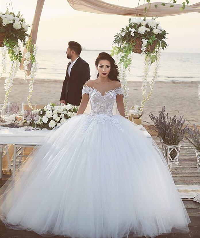 Ball Gown Wedding Dresses Lace Cap Sleeves Bridal Gowns Plus Size Lace Up  Back Floor Length Tulle Formal Wedding Gowns Weding Dresses Best Wedding