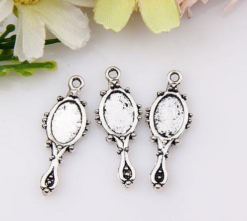 MIC 200 pcs liga de zinco de prata Antigo espelho de Mão Pingentes Charme Jóias DIY 22x10mm