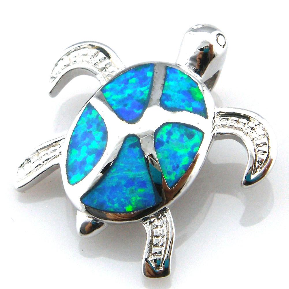 free shipping blue opal jewelry with cz stone;mexican opal pendant turtle pendant OP201B