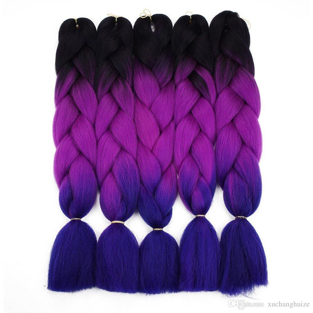 Ombre trança cabelo para crochet torção trança 24 polegadas 100 / pcs fio de alta temperatura sintética dois tons afro jumbo trança cabelo