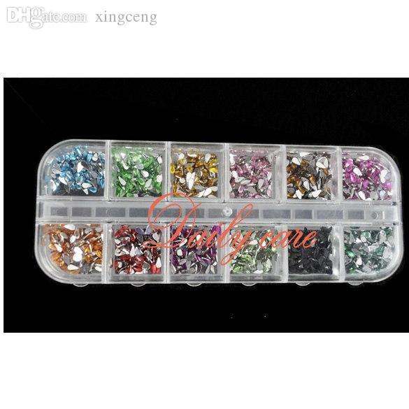 Wholesale-1800pcs / box مزيج أحجار الراين مسمار لون الدمعة فن الأظافر الديكور أحجار الراين ديكو التألق الجواهر