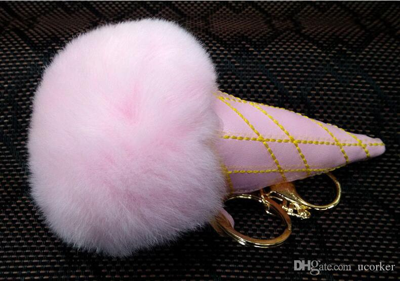 Real Rabbit Fur Ice-cream Ball Keychain Soft Fur Ball Lovely Gold Metal Key Chains Ball Pom Poms Plush Keychain Car Keyring Accessories