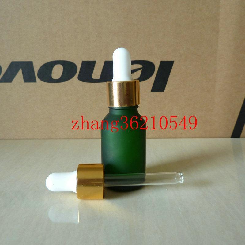 녹색 윤기 나는 유리 에센셜 오일 병 15ml 알루미늄 반짝이 골드 스포이드 캡. 오일 바이알, 에센셜 오일 용기