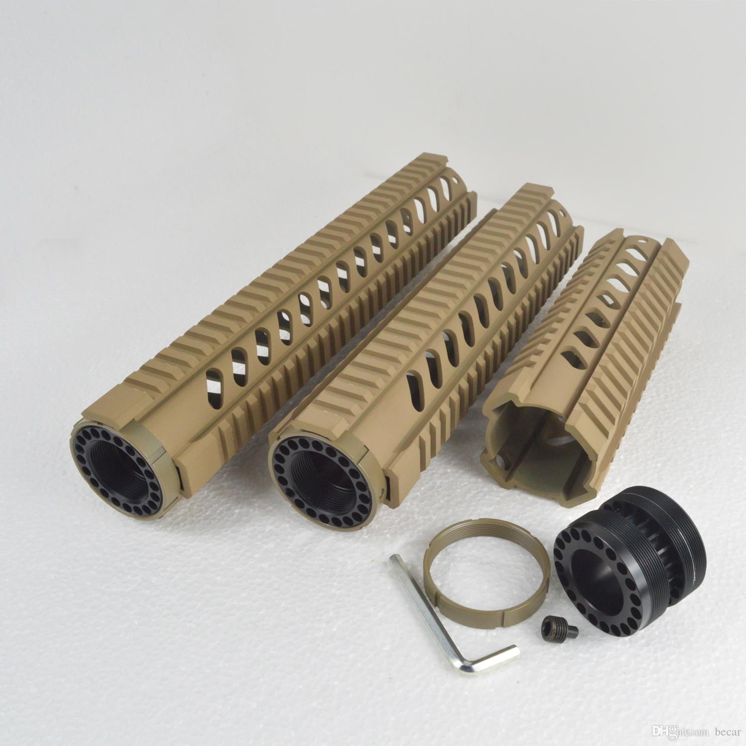 7,10,12 inch Free Float Quad Rail Handguard TAN color High quality CNC Aluminum