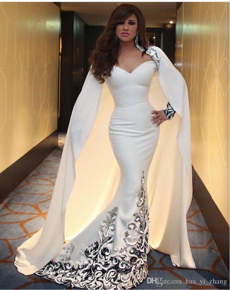 2016 Myriam Fares Celebrity Dresses 아이보리 인어 아가씨 목 둘레로 풀 슬리브와 케이프 중동 이브닝 가운
