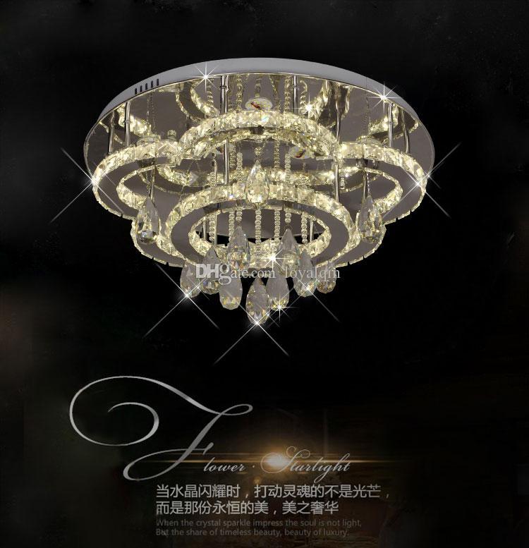 Traditionl parlak lüks büyük yuvarlak LED kristal tavan lambası, uzaktan kumanda ile doğa beyaz / sıcak beyaz
