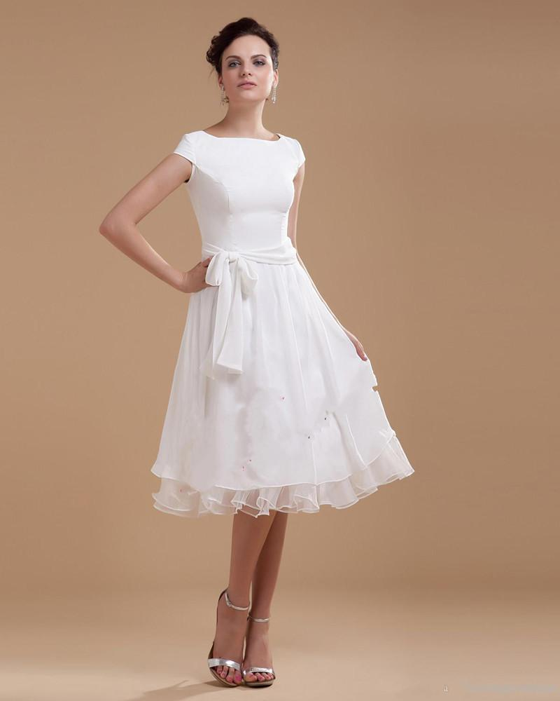 Discount 2019 New Cap Sleeve Plain Chiffon Overlay Lace Top Knee Length With Long Sash Vintage Wedding Dress Knee Length Wedding Gown 427 Wedding