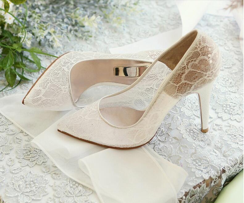 Elegante schöne Vogue Spitze und Schaffell einfache Art 8,5 cm High Heels Hochzeit Brautschuhe NK050