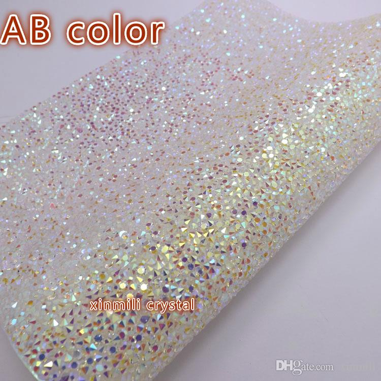 Navio livre de resina de Cristal strass folha auto adesivo ou hotfix para tecido decoração de strass rolo de malha para o casamento 24 * 40 cm Strass Bling guarnição