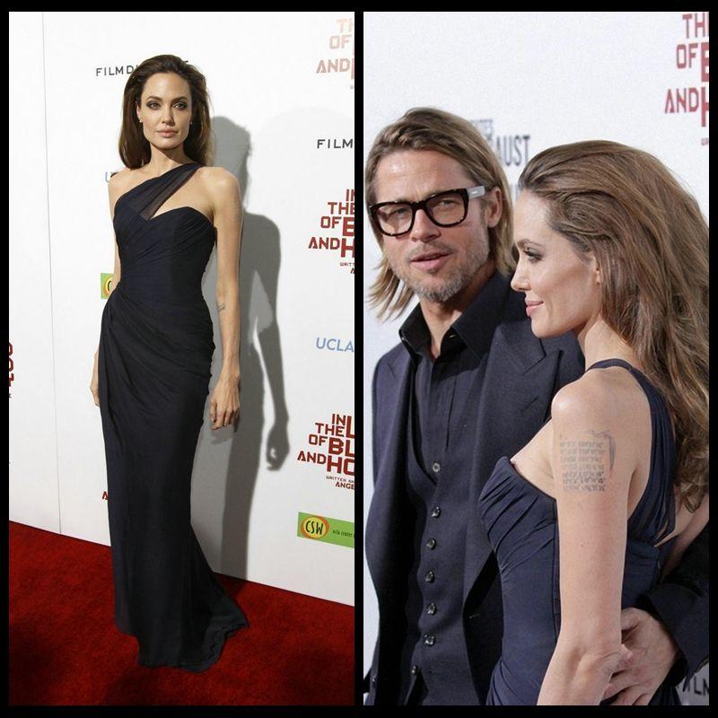 Angelina Jolie Red Carpet Dress Elegant One Shoulder Celebrity Gown for Women Sleeveless Evening Dress 2016