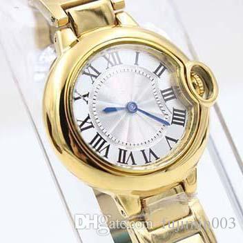 2017 ذكر الأصفر الفولاذ المقاوم للصدأ الساعات الكرة الذهبية للمرأة أزياء العلامة التجارية نمط الكوارتز ساعة اليد الحديثة اللباس السيدات الرياضة ووتش WOM