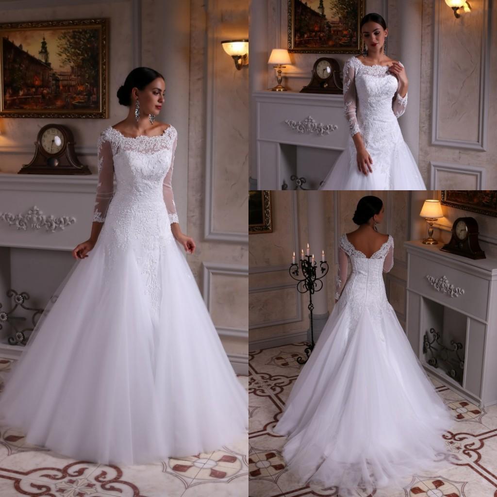 사용자 정의 만든 빈티지 스타일 라인 긴 소매 웨딩 드레스 스윕 기차 흰색 얇은 명주 그물 레이스 신부 가운
