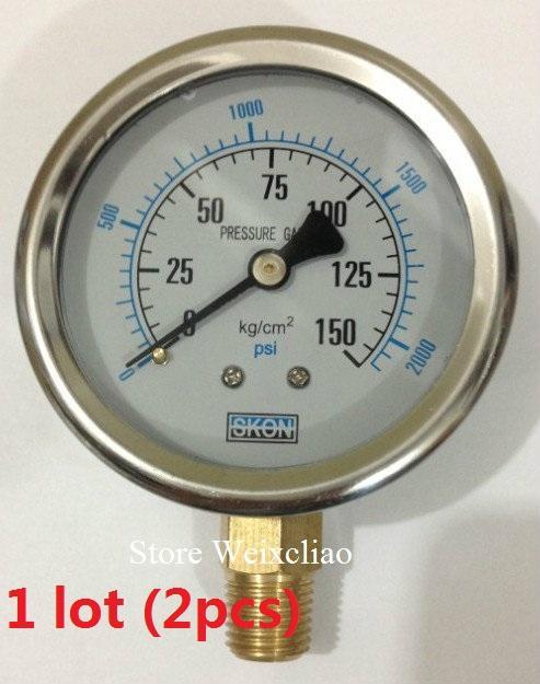Manómetro de presión 0-150KG / 2100psi 1 / 4PT para el manómetro de manómetro de la máquina de potencia hidráulica 1 lote (2pcs) envío gratuito