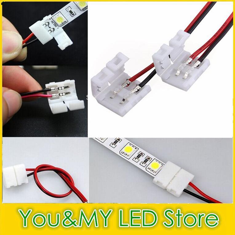 Edison2011 Larghezza 10mm Larghezza 2 Pin Color LED Connettore a led 5050 Striscia LED Non è necessario saldare la nave libera