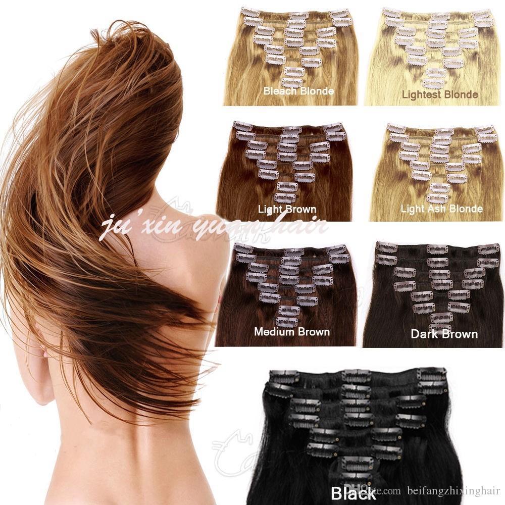 Venta al por mayor - 200 g / pc 10pc / set 100% cabello humano real / pinzas para el cabello brasileñas en extensiones de cabeza real recta completa de alta calidad