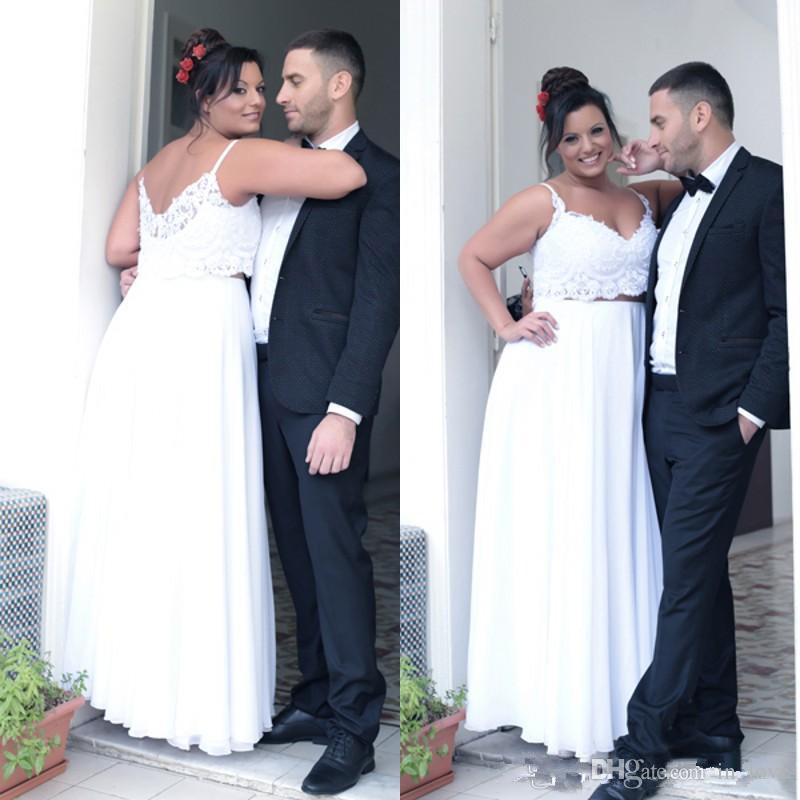 2018 Summer Plus Size Two Pieces Wedding Dresses Spaghetti Straps Lace  Chiffon Casual Beach Floor Length Bridal Gowns Custom Size Alternative  Wedding ...