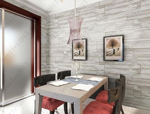 Chinese Style Dining Room 3D Wallpaper Stone Brick Design Background Wall  Vinyl Wallpaper Modern ...