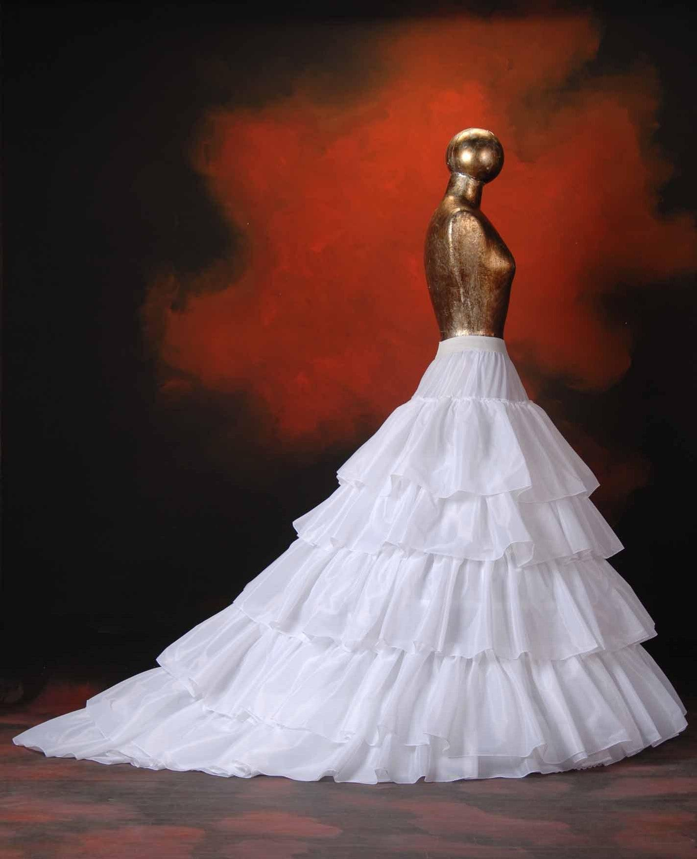 Новый Stayle Белая IVORY 5 Слои Bridal Petticoat Tulle Бальное платье Длинные Петтикосы Свадебные Гибель Для Вечернего / Пром / Свадебное платье