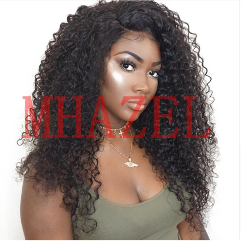 MHAZEL Afro Kinky Curly Lace Hair Human Hair Full Wig For Black Women Brazilian Remy Hair