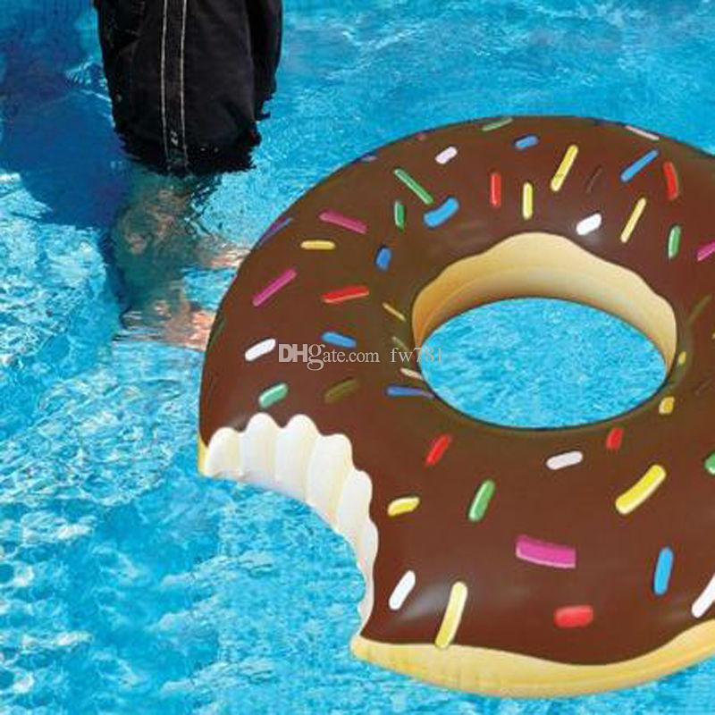 10pcs A Lot Wholesale New 120cm Gigantic Donut Swimming Float Inflatable Ring Adult Pool Floats Free By SF DHL UPS FedEx 2018 From Fw781