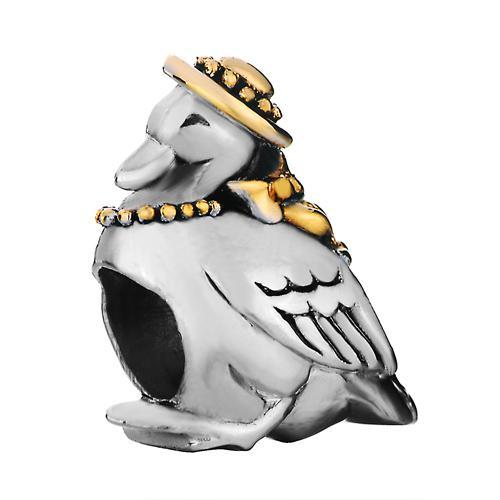 Grote gat kralen schattige papegaai dragen hoed vogel met hart gelukkige Europese spacer kraal metalen bedel meisjes armbanden pandora chamilia compatibel