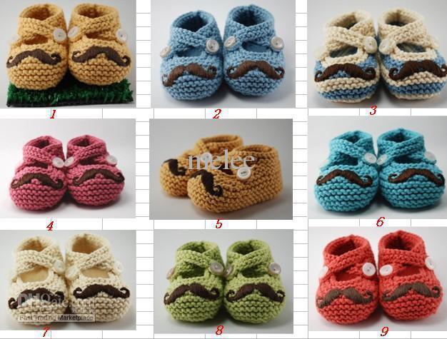 10pcs/lot +Baby crochet shoes Lovely Mr Mustache Booties Baby Crochet Prewalker Shoes Beard handmade First Walker Shoes 0-12M cotton yarn