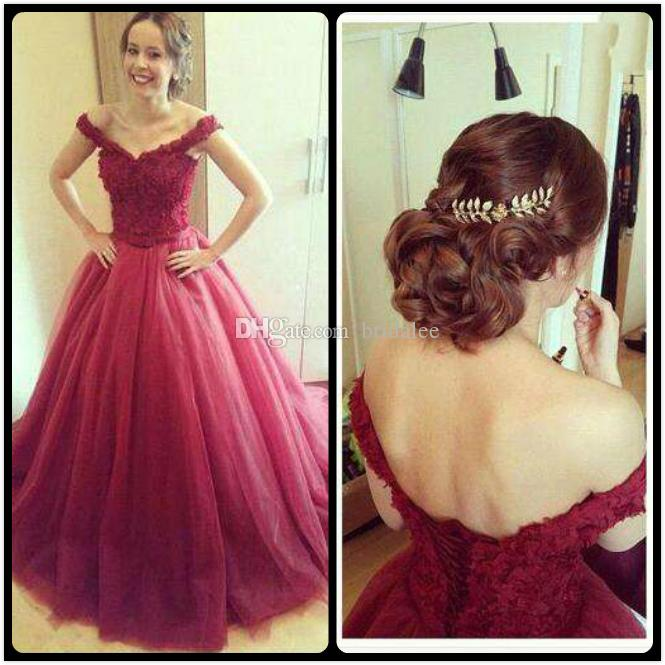 Vestido De Festa Borgonha 2016 Longos Vestidos de Noite Longo vestido de Baile Sexy V Neck Lace Apliques Womens Evening Party Dress Online