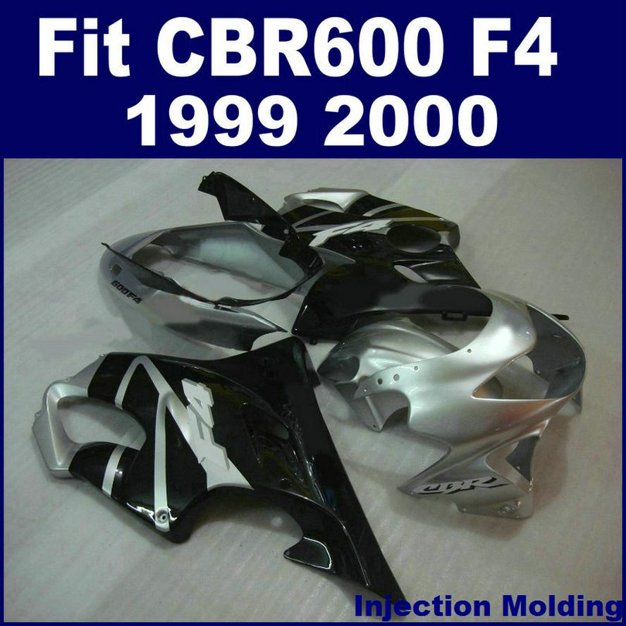 100% Injection molding parts full fairing kit for HONDA CBR 600 F4 1999 2000 silver black 99 00 CBR600 F4 fairing sets BVFG