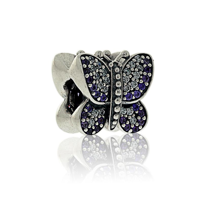 100% 925 Sterling Silver Sparking Butterfly Bead with Purple Zirconia Fits European Jewelry Pandora DIY Charm Bracelets