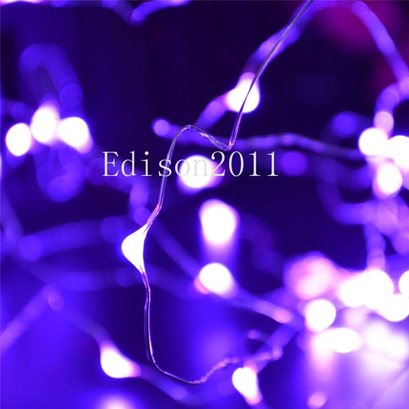 New 2M 20 LEDs Battery Operated Mini LED Copper Wire String Fairy Sparkle Lights Yellow Pink Purple for Xmas Party Wedding Decoration