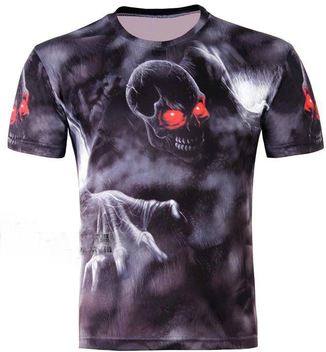 w1209 готический панк красный глаз череп напечатаны 3D творческий черный мужская футболка,три D с коротким рукавом тонкий футболка S-6XL,D04,плюс размер