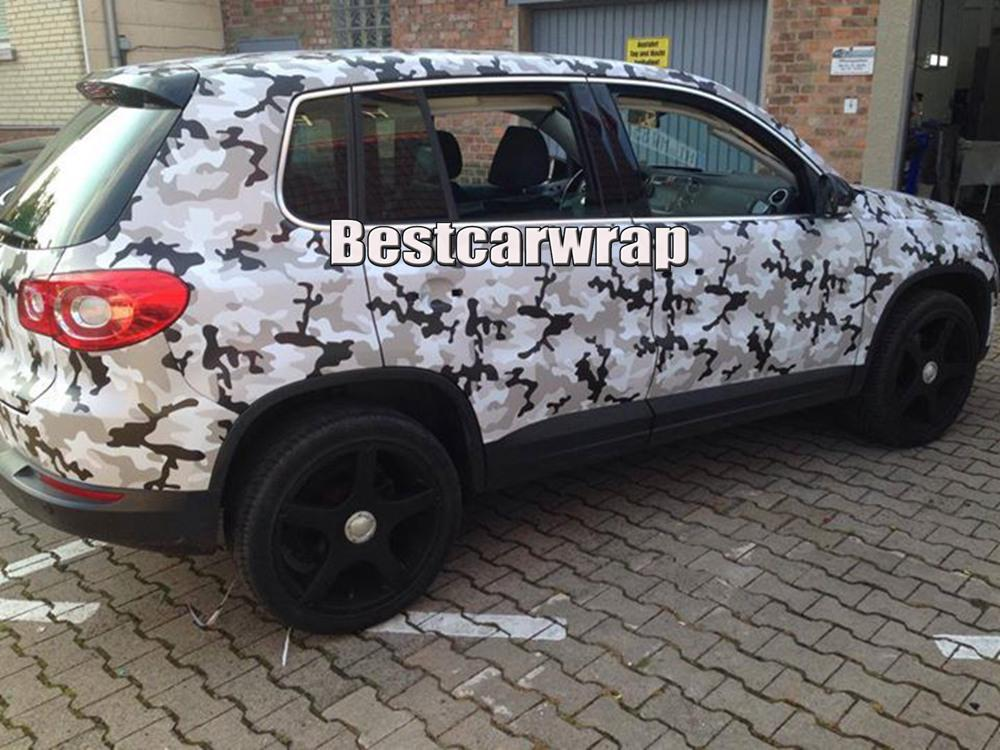 Winter camo vinyl Covering Black white grey With Air Free Vehicle decal Stickers Winter camougflage Film 1.52x30m/Roll
