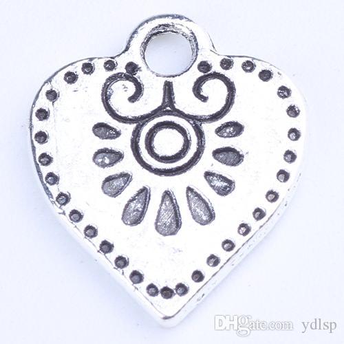 DIY Retro antigo de Prata / bronze Encantos Do Coração Pingente Fit Pulseiras ou Colar de Jóias 600 pçs / lote 1299z