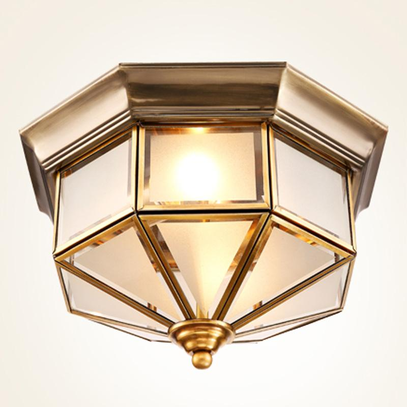 2019 American Retro Copper Bedroom Ceiling Lights Simple Glass Kitchen  Bathroom Ceiling Lamp Balcony Ceiling Light Fixture From Oovov, $105.53 |  ...