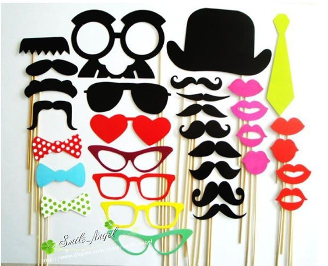 On Sale,1SET=32 pcs Photo Booth Props Hat Mustache On A Stick Wedding Decorations Birthday party fun favor Free shipping
