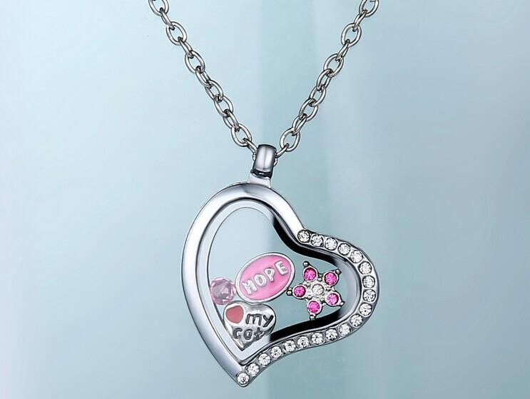 Floating Charms Locket pendants Memory Living Glass Heart Pendant trendy crystal Necklaces DIY Zinc alloy Locket fine jewelry