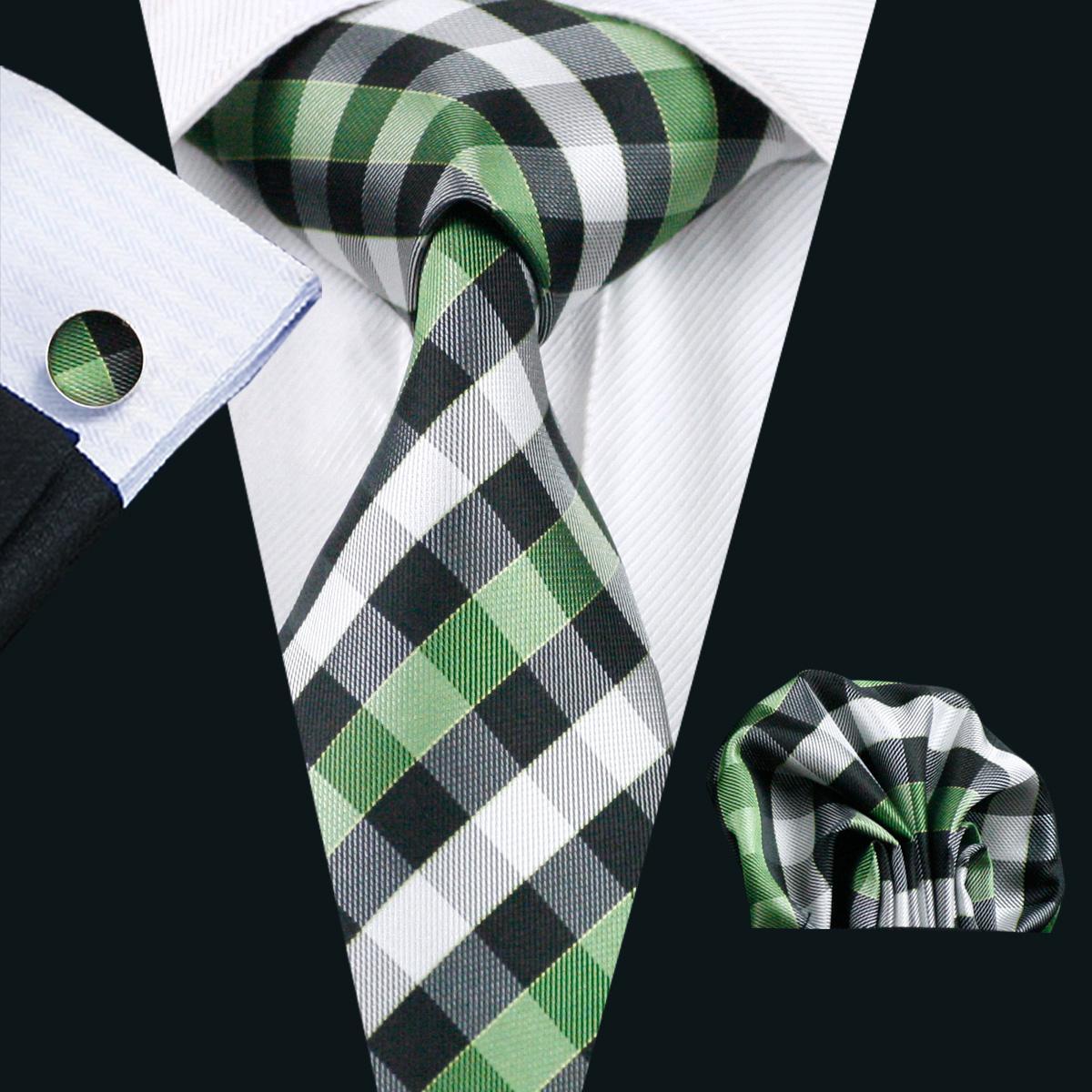 Verde Plaid Tie Pocket Piazza gemelli Set jacquard in seta Mens Tie Set lavoro convenzionale di affari Riunione Tempo libero N-0942