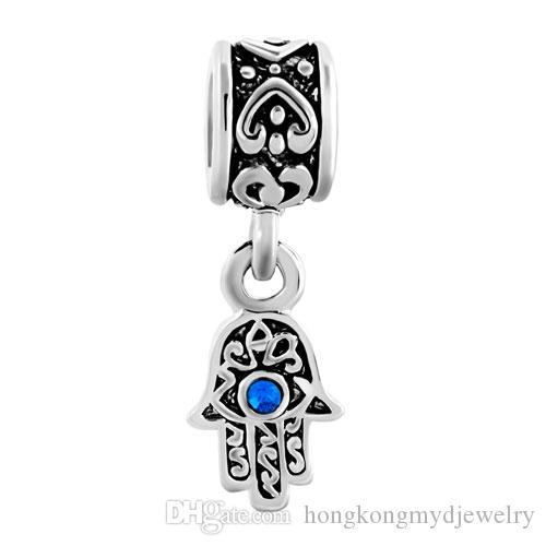 Hamsa hand blue evil eye dangle metal slide bead European charm fit Pandora Chamilia Biagi charm bracelet