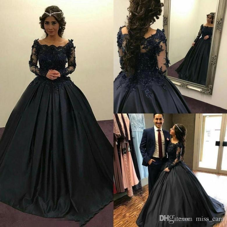 Modest Black Prom Dresses Evening Wear Ball Gown Off Shoulder Long Sleeves Beaded Appliques Full Quinceanera Gowns Party Dress Cheap