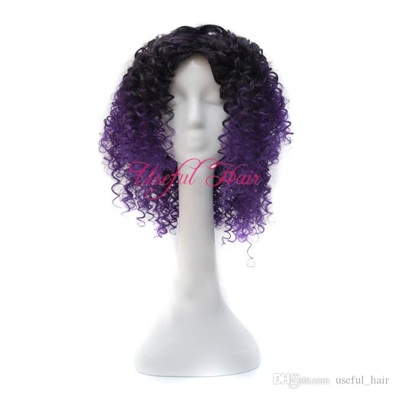 KINKY CURLY Bounce TWIST comfort Micro braid wig african american JANAMINAC CURLY OMBRE PURPLE COLOr 18inch synthetic wigs for black women